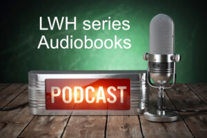 LWH series Audiobooks Podcast logo with microphone